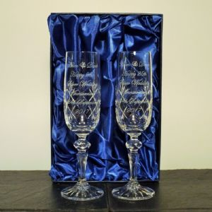 Engraved Pair Cut Crystal Champagne Flutes Glasses Silk Box Wedding Gift